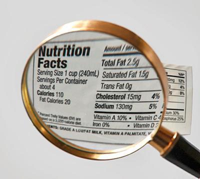 Etichetta e lente di ingrandimento