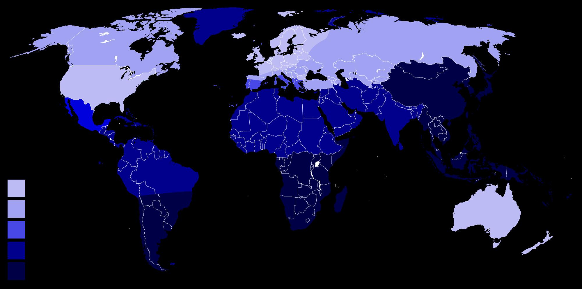 Diffusione mondiale intolleranza lattosio