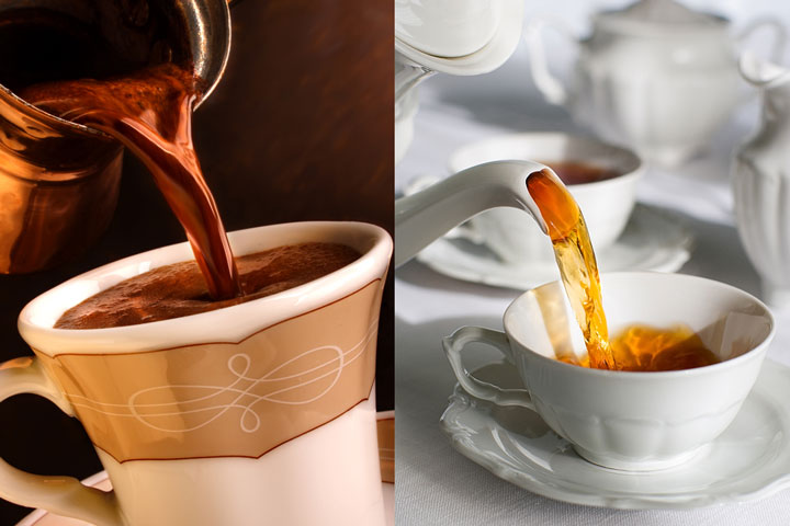 Tazza di tè e tazzina di caffè